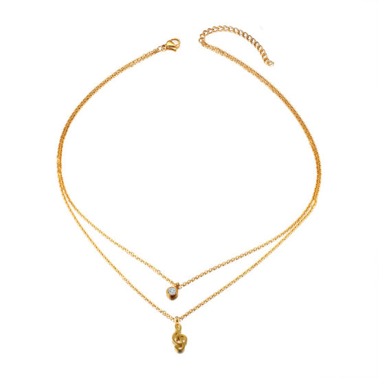 Gold Musical Note Pendant Crystal Necklace for Women Cute Note Charms Choker