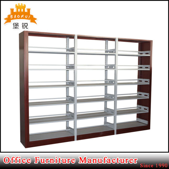 Metal Side Cloume 6 Adjustable Layer School Library Bookshelf pictures & photos