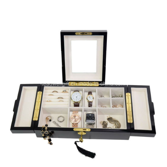 High Gloss Wood Finsh Valet Watch & Cufflink Jewelry Box & Organizer Storage Case pictures & photos