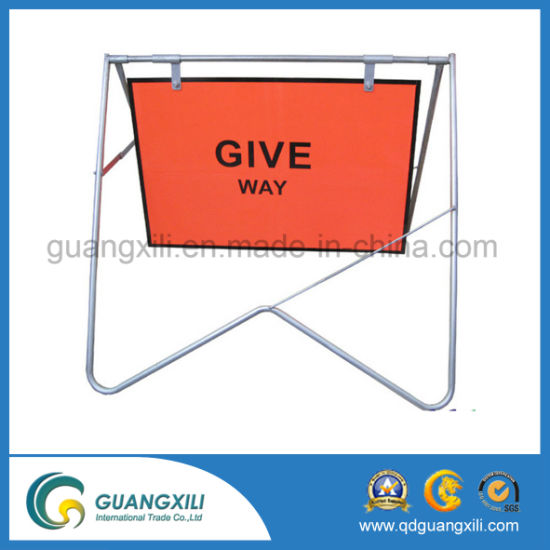 China Outdoor Black Steel Pipe Galvanized Swing Warning Sign Frame ...