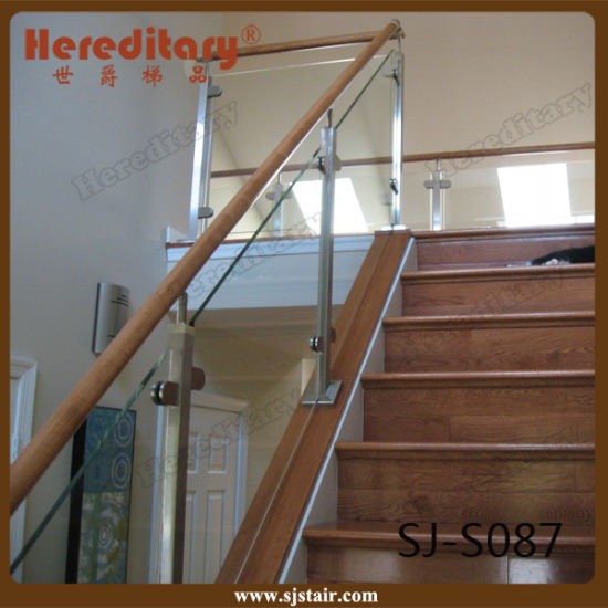 Indoor Wood Handrail Stainless Steel Glass Stair Railing