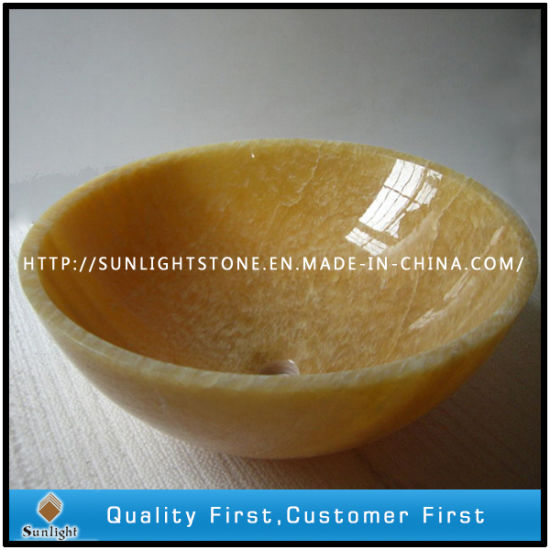 Natural Round Yellow Onyx Marble Sink For Kitchen And Bathroom