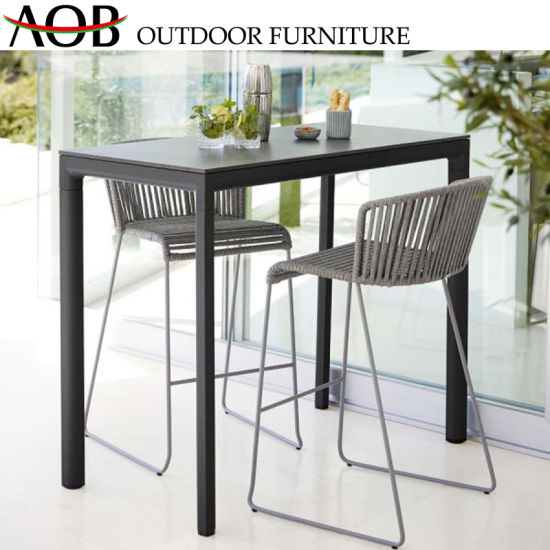 Modern Garden Hotel Poolside Rope Woven High Stools Dining Table Leisure Bar Furniture with Glass Table Top