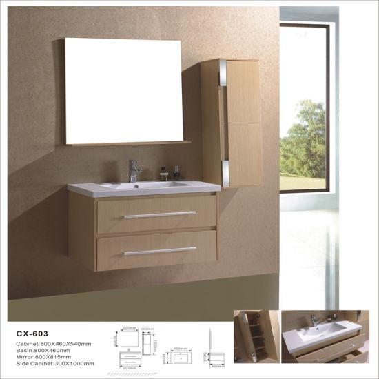 Wall Mounted Mdf Bathroom Cabinets With Side Cabinet And Mirror