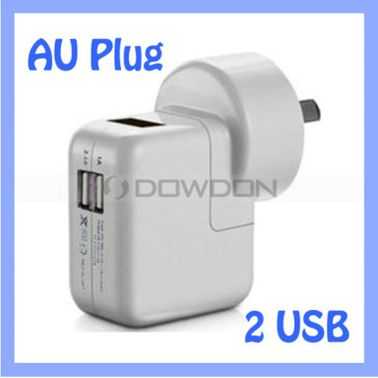 Round Au UK Us Multi Plug 5V Output 2 USB Charger for Samsung S7 / iPhone 7 / iPad Air