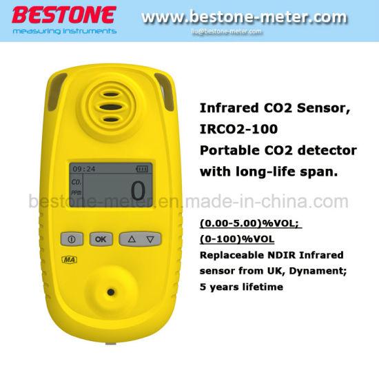 Infrared CO2 Sensor Irco2-100 Portable CO2 Detector with Long-Life Span  Portable Battery-Powered 100% CO2 Monitor/Meter Sampling Data Logger
