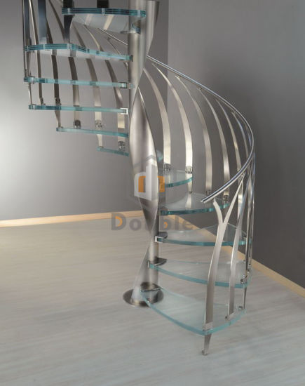 Modern Stainless Steel Handrail/Railing Glass Steps Spiral Staircase Curved  Stairs
