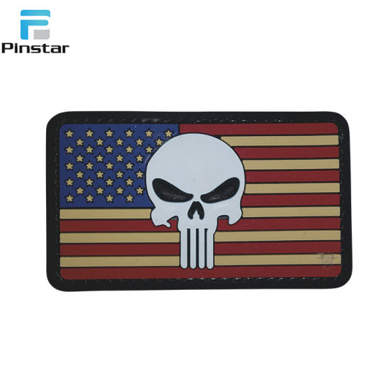 Star Gear Patriotic Punisher PVC USA America Flag Morale PVC Patch pictures & photos