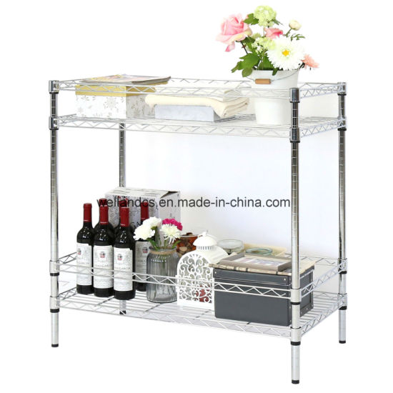 china free standing 2 tier adjustable chrome metal wire storage rack