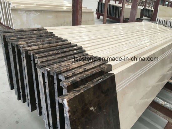 Marble Staircase With Marble Stair Tread With Flat Polishing Edge