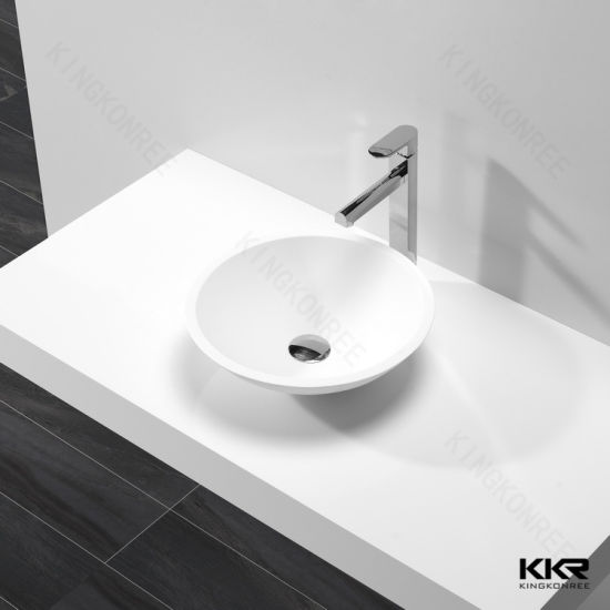 Kkr Solid Surface Bathroom Sink Countertop Wash Basin