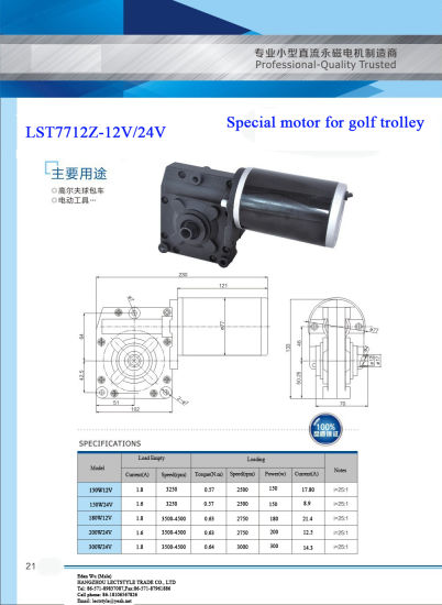 12V 24V 300W Electric Golf Buggies Trolley DC Motor pictures & photos