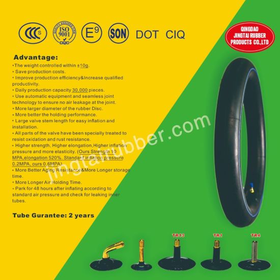16 Inch New Motorcyle Natural Rubber/Butyl Inner Tube (110/90-16) with ISO Standard