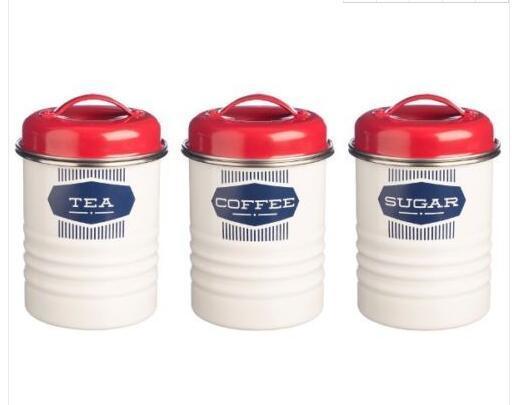 Tea Coffee Sugar Storage Tin Metal Food Canisters