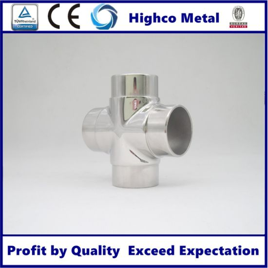 Wholesale Stainless Steel Handrail Pipe 4 Way Square Tube Connector Elbow