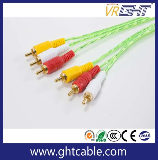 1.8m 3RCA to 3.0RCA Male to Male Audio Cable pictures & photos