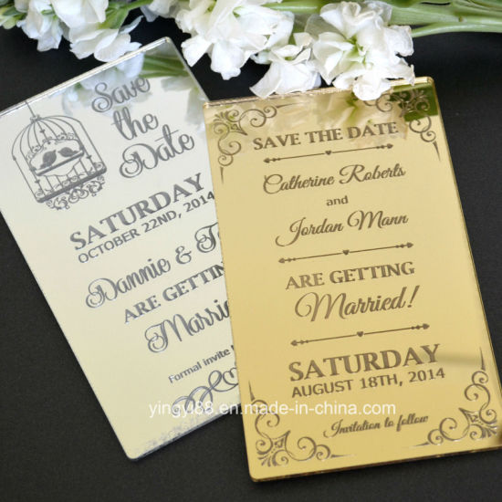 Hot Sale Personalized Custom Acrylic Wedding Invitation Piece Card pictures & photos