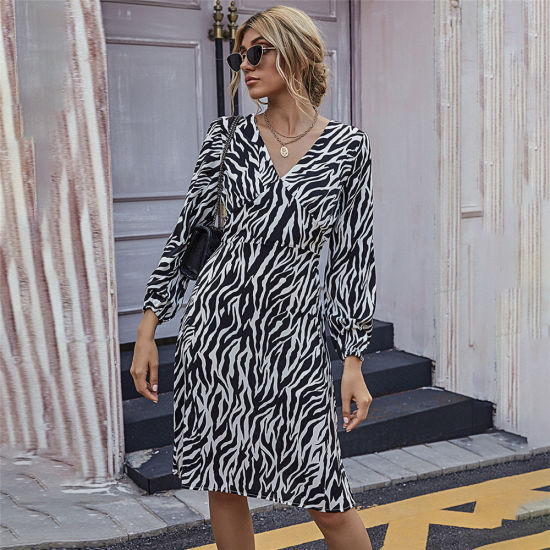 2021 New Arrivals Fashion Women's Hot Style Zebra Printed Office Dresses