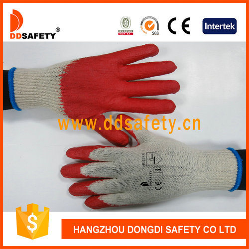White Cotton Knitted Red Latex Coated Protection Gloves