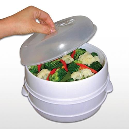 2 Tier Microwave Steamer Rice Fish Pasta Vegetable Steamer Plastic Cooker