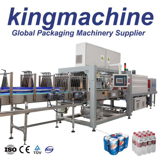 Linear Type Hot Pet Bottle Drinking Pure Water PE Film Wrapper Packing Automatic Shrinking Machine Glass Bottle L Type Heat Shrink Wrapping Packaging Machine