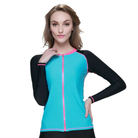 Elastic UV50+ Sportswear with Front Zipper Rash Guards Diving Wear Swimsuit Surfing Suit