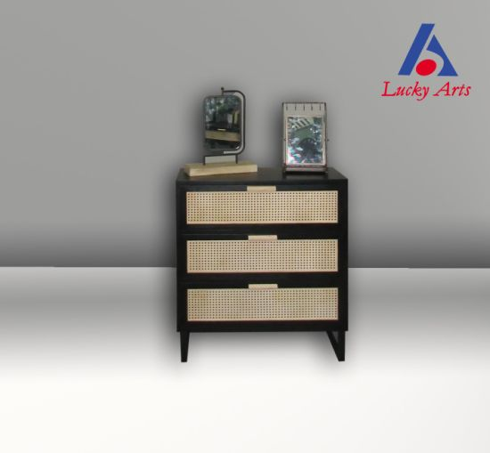 Bamboo Drawer with Black Wooden Paint Cabinet Table Shelf