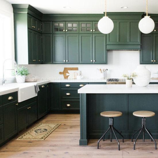 Island Shape Green Modern Solid Wood Kitchen Cabinets Zf-Kc-003