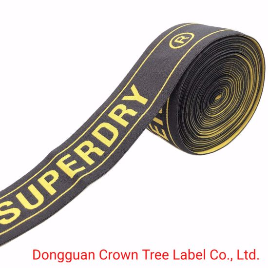Customized Brand Name Logo Yellow Letter Jacquard Elastic Ribbon for Garment Accessories