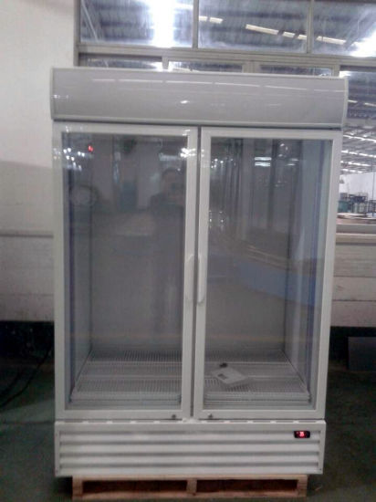 Commercial Upright Double Glass Doors Cold Coke Display Fridge pictures & photos