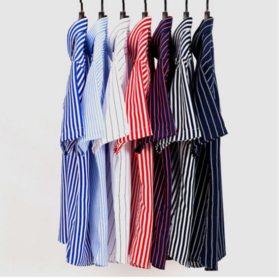 Customize Stripe Short Sleeve Dress Shirt for Men