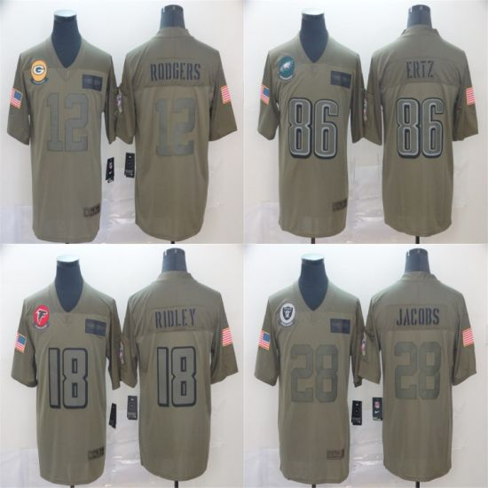 2019 Salute to Service Rodgers Ertz Ridley Jacobs Football Jerseys