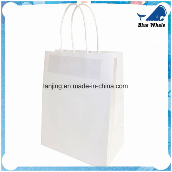 Wholesale White Craft Paper Rope Handle Paper Shopping Bags pictures & photos
