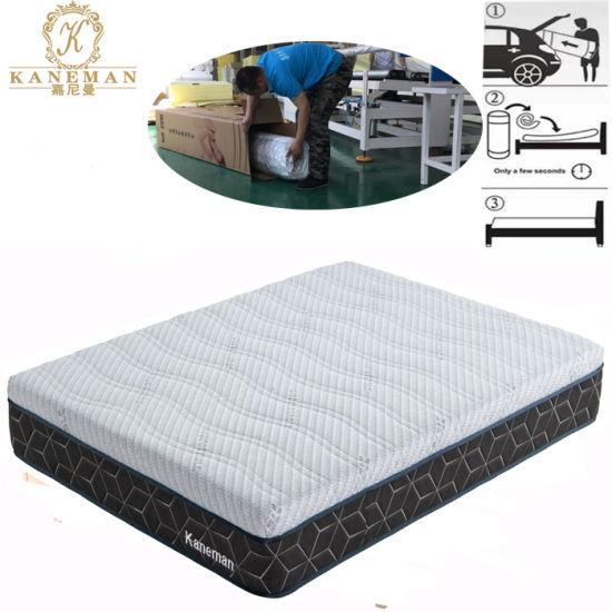 China 10 Inch Luxury Natural Latex Foam Mattress Roll In Box