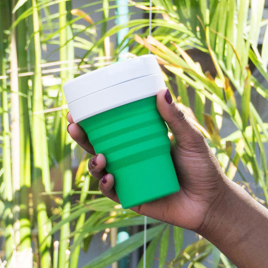 LFGB FDA Leak Proof Collapsible Reusable Coffee Cup Silicone Folding Cup Bc104