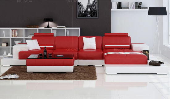 China Modern Red Leather Sofa American Style - China Leather ...