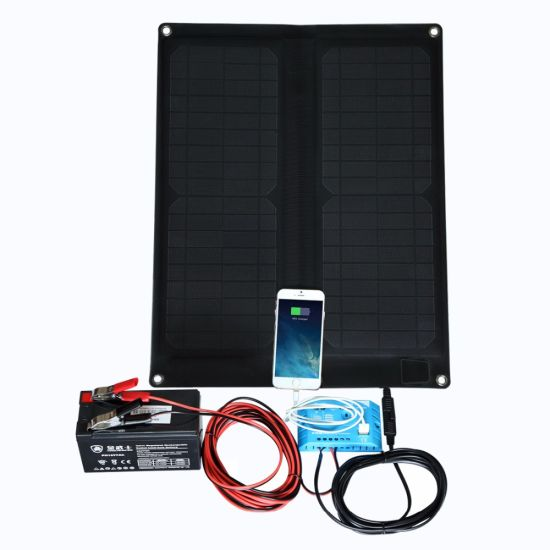 20W Folding Solar Panel Power Bank Foldable USB Cable For Phone Battery Charger