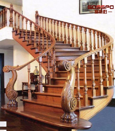 Stariway Carved Wood Stair Steps Design (GSP15 003)
