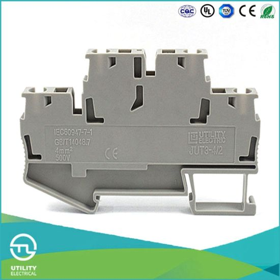 Dinrail Terminal Block Spring Type Jut3-4/2 Wago Screwless Wiring Connector