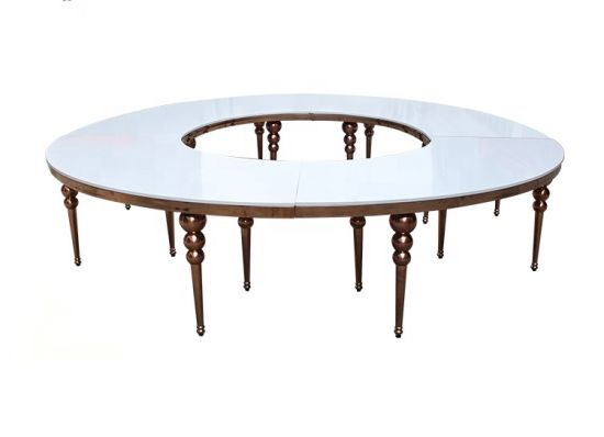 Gold Legs Wedding Furniture Arc-Shaped Glass Table/Dining Table/Outdoor Table/Chinese Table Furniture