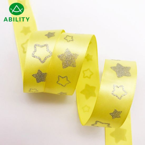 Hot Selling Gold Silver Foil Stars Printed Garments Satin Ribbon