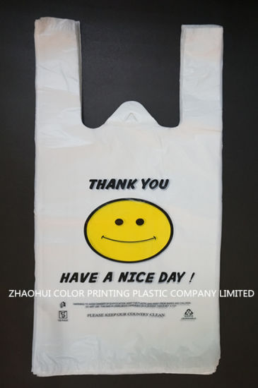 Custom Printed Plastic T-Shirt Bags for Shopping