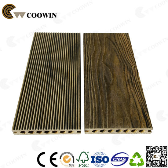 Hollow High Strength 3D Surface Wood Plastic Composite Decking pictures & photos