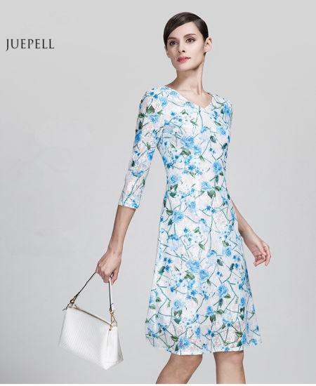 Fashion Fl Print Woven Material Old Lady Dress Elegant