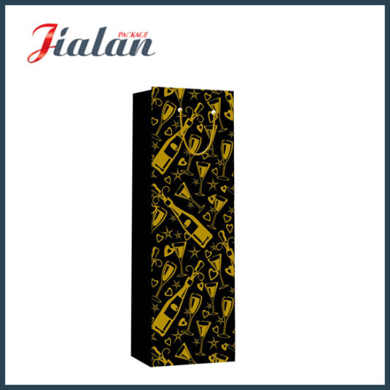 Black Color with Hot Stamping Bottle Shopping Gift Paper Bag