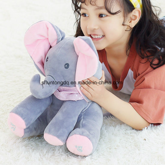 Little J Peek a Boo Elephant Stuffed Animals Plush Toy Electronic Sing Song Play Hide and Seek Elephant Baby Kids Soft Doll pictures & photos