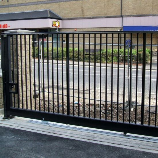 Outdoor Driveway Automatic Sliding Main Gate Aluminum and Iron Stainless  Steel Loop Top Fencing and Fence