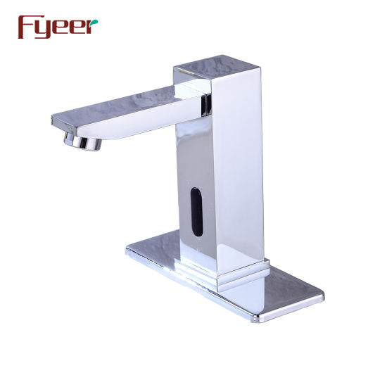 Fyeer Square Body Solid Brass Sensor Water Tap with Deck Plate