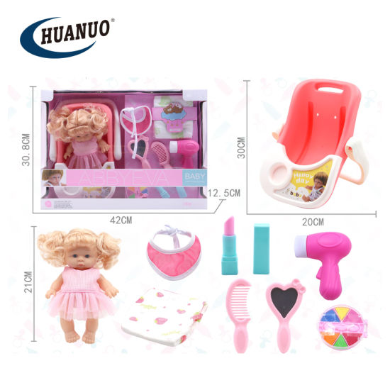21cm New Fashion Makeup Set Baby Doll Toys with Hand Basket