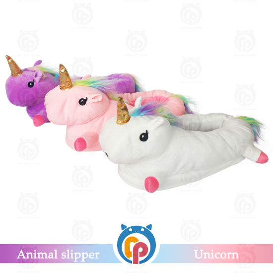 Wholesale Winter Fur Warm Unicorn Slippers for Adult